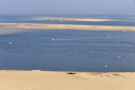 gironde: Banc of Arguin seen from famous Dune of Pilat located in La Teste-de-Buch in the Arcachon Bay area, in the Gironde department in southwestern France Stock Photo
