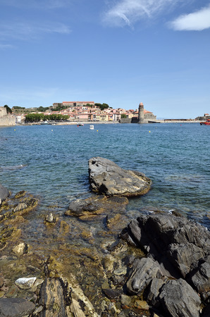 middle ages boat: Coast of Collioure with the town and the fortifications in the background, commune on the c?te vermeille in the Pyr?n?es-Orientales department, Languedoc-Roussillon region, in southern France. Stock Photo