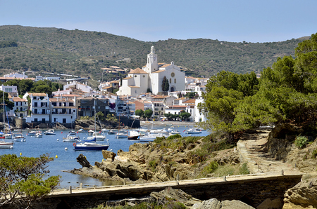 pathetic: Port and town of Cadaqus with Santa Maria church town on the Costa Brava at northeastern Catalonia in Spain Stock Photo