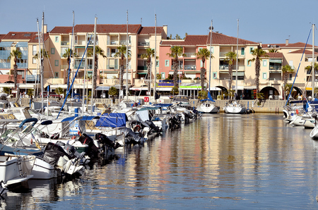 vermilion coast: Port of Argels-sur-Mer and building, town on the coast vermilion in the Pyrenees-Orientales department, Languedoc-Roussillon area, in southern France.