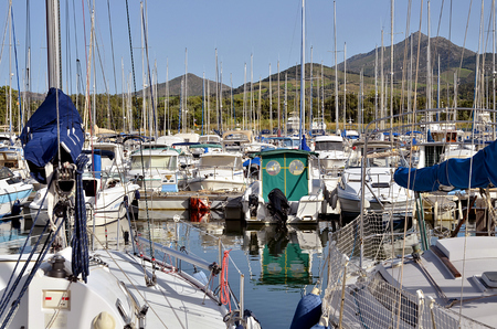 vermilion: Marina of Argels-sur-Mer in France, common on the coast vermilion in the Pyrenees-Orientales department, Languedoc-Roussillon area, in southern France. Stock Photo