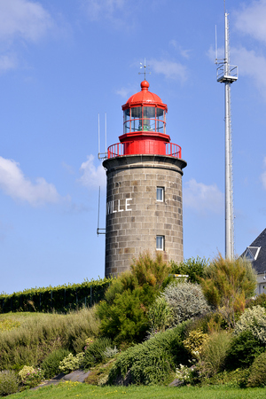 manche: Lighthouse of Granville, a town in the Manche department in Lower Normandy in north-western France.
