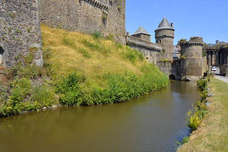 fortifications: Fortifications of castle of ferns, and a common sub-prefecture of the Ille-et-Vilaine department in Brittany in northwestern France Stock Photo