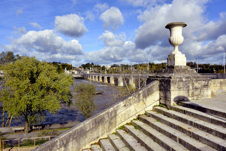touraine: Stairs in Loire River bank at Tours, city in central France, the capital of the Indre-et-Loire department, Region Centre.