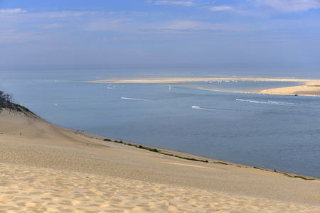 gironde department: Banc of Arguin seen from famous Dune of Pilat Located in La Teste-de-Buch in the Arcachon Bay area, in the Gironde department in southwestern France