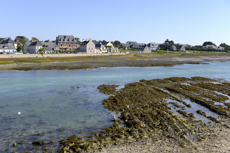 manche: Seaside resort at low tide of Port-Bail or Porbail, a commune in the peninsula of Cotentin in the Manche department in Lower Normandy in north-western France Stock Photo