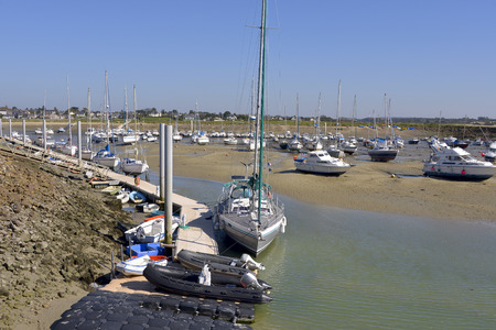 manche: Port at low tide of Port-Bail or Porbail, a commune in the peninsula of Cotentin in the Manche department in Lower Normandy in north-western France