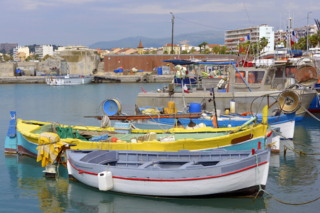 cros: Small boats in the harbor of Cros at Cagnes-sur-Mer, common in the Alpes-Maritimes department in the Provence-Alpes-Cte dAzur Region in southeastern France