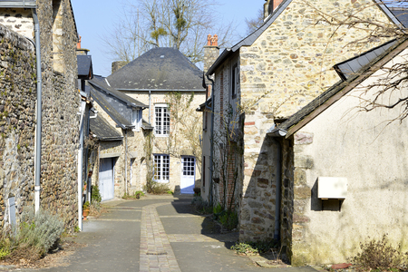 ranked: Town of Sainte-Suzanne, ranked one the most beautiful villages, fortified town in the Mayenne department, Pays-de-la-Loire region, in north-western France. Stock Photo