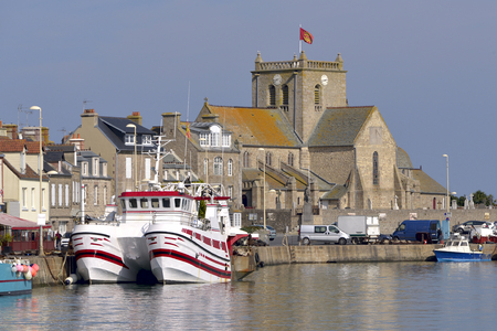 church: Port and church of Saint-Nicolas of Barfleur, a commune in the peninsula of Cotentin in the Manche department in Lower Normandy in north-western France Stock Photo