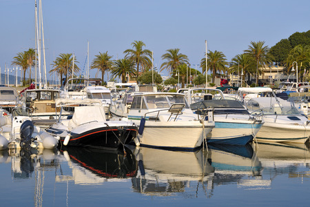 motorboats: Motorboats in the port of Cavalaire-sur-Mer, commune in the Var department in the Provence-Alpes-Cte dAzur region in southeastern France. Stock Photo