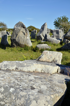 neolithic: Standing stones at Erdeven, commune in the Morbihan department in Brittany in north-western France Stock Photo