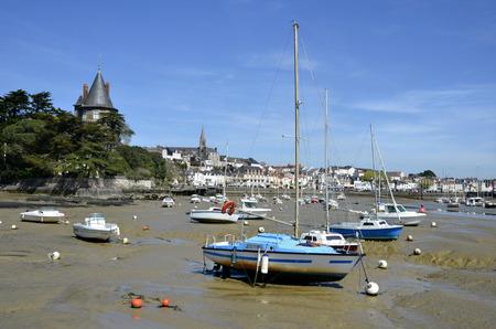 pays: Port of Pornic at low tide in Pays de la Loire region in western France Stock Photo