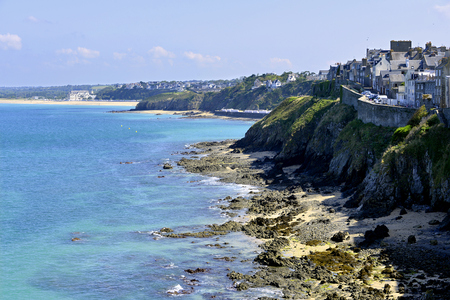 manche: Rocky coastline of Granville, a commune in the Manche department in Lower Normandy in north-western France.