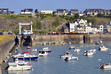 manche: Port and town of Granville, a commune in the peninsula of Cotentin in the Manche department in Lower Normandy in north-western France Stock Photo