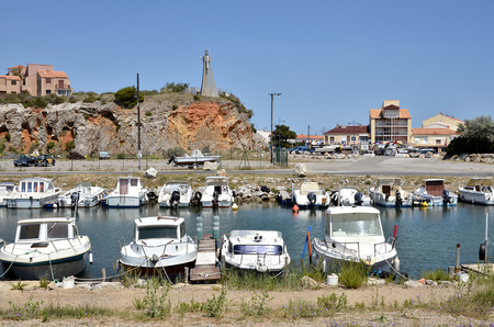 depending: Boats in the port of Saint-Pierre-de-la-Mer depending on the commune of Fleury, in southern France in the Languedoc-Roussillon region