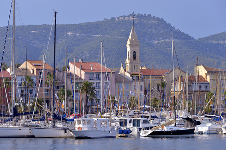 var: Port of Sanary-sur-Mer with town and church, commune in the Var department in the Provence-Alpes-Cte dAzur region in southeastern France.