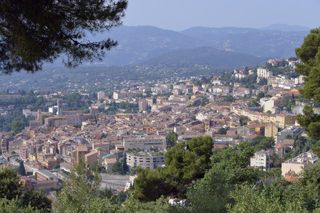 french perfume: Aerial view of Grasse town in the Alpes-Maritimes department on the French Riviera. The town is regarded the worlds capital of perfume
