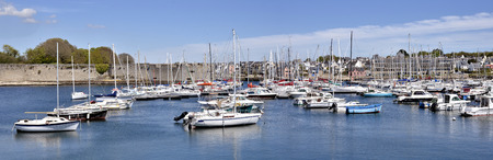 bulwark: Panoramic harbor of Concarneau, commune in the Finistere department of Brittany in north-western France