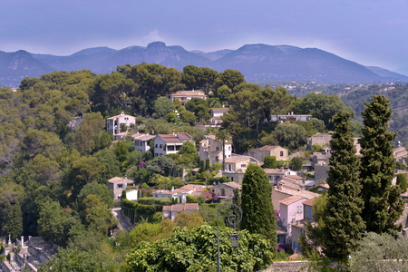 alpes maritimes: The aerial view of the village Haut de Cagnes sur Mer in the surrounding countryside in southeastern France, department Alpes Maritimes