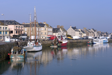 manche: Fishing boat in the harbor of Saint-Vaast-la-Hougue, a town in the peninsula of Cotentin in the Manche department in Lower Normandy in north-western France