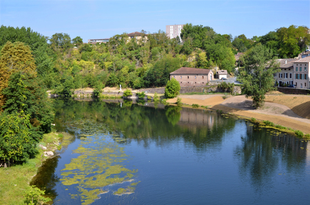tarn: River Tarn seen from a bridge of the town Gaillac in southern France, Midi-Pyrenees Region