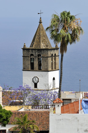 marcos: Tower bell of church of San Marcos Icod de los Vinos in the northwest of Tenerife in the Spanish Canary Islands Stock Photo