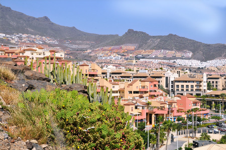americas: Town of Las Americas with cactus and mountain on the Costa Adeje of the southern portion of Tenerife in the Spanish Canary Islands Stock Photo