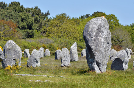 megalith: Famous standing stones at Carnac in the Morbihan department in Brittany in north-western France Stock Photo