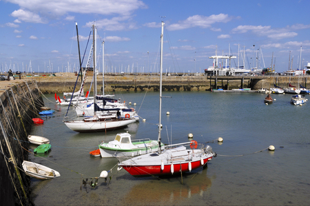 aligned: Port of Haliguen at low tide at Quiberon in the Morbihan department in Brittany in north-western area France