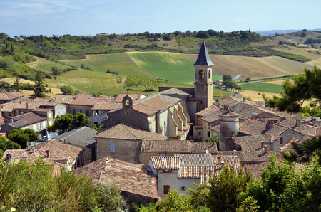 tarn: Aerial view of the village Lautrec with icts church in southern France. Midi-Pyrenees Region, Tarn department Stock Photo