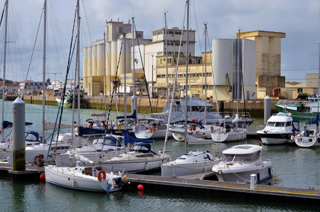 vendee: Industrial harbor of Les Sables dOlonne, common in the Vendee department in the Loire Valley area in western France Stock Photo