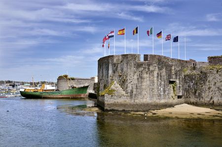 bulwark: Ville Close (walled city) of Concarneau, commune in the Finistere department of Brittany in north-western France Stock Photo