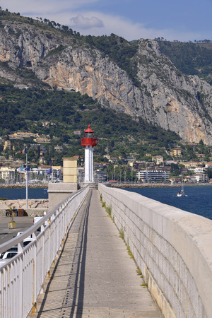 southeastern: Lighthouse of Menton, a town in the Alpes-Maritimes department in the Provence-Alpes-Cote of Azur Region in southeastern France.