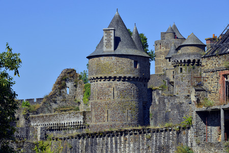 bulwark: Keep and fortifications of castle of Foug�res, town and a sub-prefecture of the Ille-et-Vilaine department in Brittany in northwestern France Stock Photo