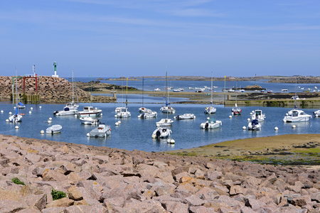 tr: Port on the Pink Granite Coast (pink granite coast in french) at Tr? ? beurden, common in the C?tes dArmor department of Brittany in northwestern France. Stock Photo