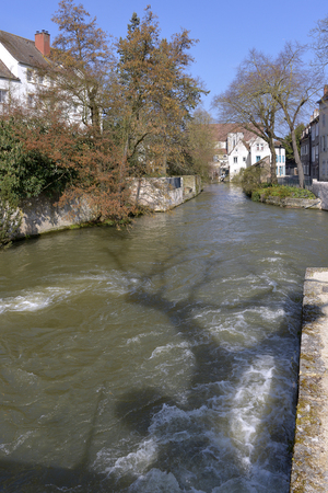 well known: Eure river flowing in Chartres, a town and capital of the Eure-et-Loir department in Region Centre-Val de Loire in France. Chartres is Well Known for icts cathedral Stock Photo