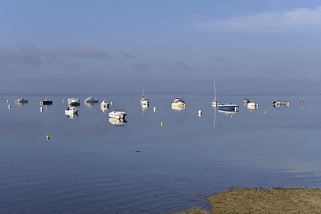 gironde department: Boats at Andernos-les-Bains, town ostreicole Located on the Northeast shore of Arcachon Bay, in the Gironde department in southwestern France. Stock Photo