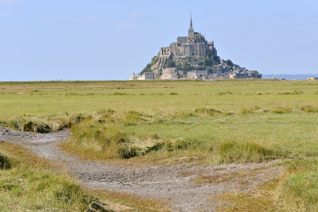 manche: Famous Abbey Mont-Saint-Michel in France, Lower Normandy Region and Manche department