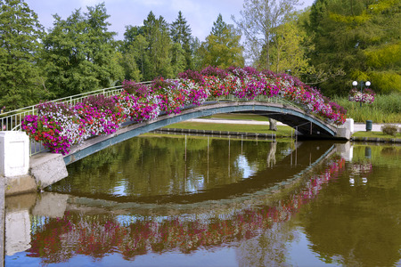 Flowery bridge with reflection on the lake at Bagnoles de lOrne is a common form in the Orne department in northwestern France. This town is famous for ict hydrotherapic baths