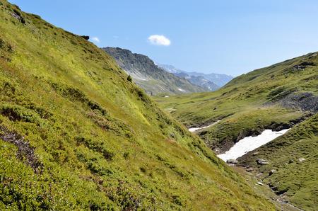 Valley at Little St Bernard Pass (Little St. Bernard Pass), RhÃne-Alpes Region in France.