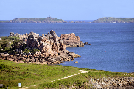 ploumanach: Famous Pink Granite Coast (pink granite coast in french) of Ploumanach with islands For monks and Bono in the background. Ploumanach is a town in the municipality of Perros-Guirec. It is found in the Region Bretagne in the C?tes dArmor department in th