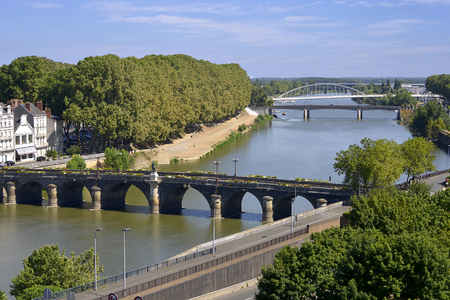 Aerial view of The Maine river and bridges of the town of Angers in the Maine-et-Loire department, Pays de la Loire Region, in western France about 300 km (190 mi) south-west of Paris Stock Photo