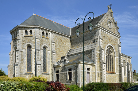 the loire: Church of Saint Michel-Chef-Chef, common in the Loire-Atlantique department in western France.