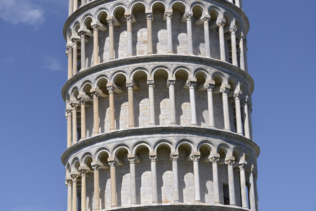 Closeup of famous leaning Tower of Pisa (Torre pendente di Pisa in Italian) is a city in Tuscany, central Italy, straddling the River Arno just before it empties into the Tyrrhenian Sea Stock Photo