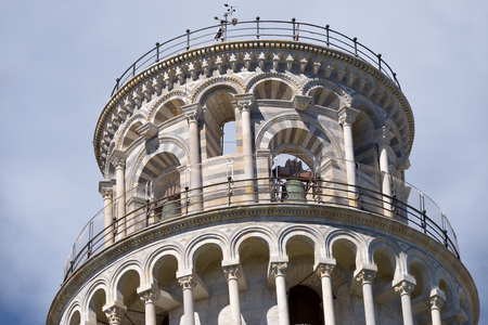 Top of the famous leaning Tower of Pisa (Torre pendente di Pisa in Italian) is a city in Tuscany, central Italy, straddling the River Arno just before it empties into the Tyrrhenian Sea