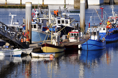 Fishing boats in the Port Maria at Quiberon in the Morbihan department in Brittany in north-western France.