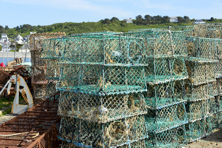 trapeze: Closeup stack of lobster pot in french Brittany