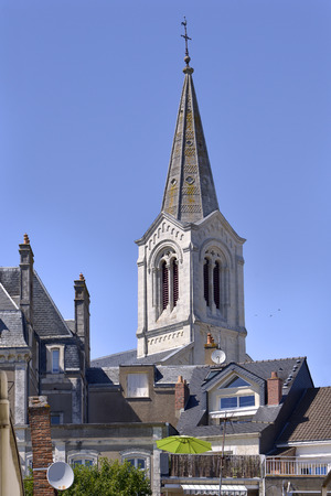 the loire: Bell tower of church Saint Gilles at Pornic in Pays de la Loire region in western France Stock Photo
