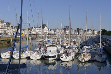 Port of La Baule Escoublac with Le Pouliguen in the background. La Baule Escoublac is a commune in the Loire-Atlantique department in western France is a famous seaside resort on the Cote of Love